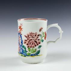 Longton Hall Porcelain Floral and Rock Pattern Mug c1756