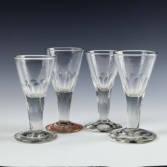 Four Victorian Gin Glasses c1880
