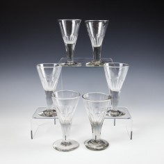 A Set of Six 19th Century Gin Glasses c1870