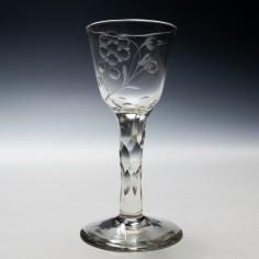 Jacobite Sympathy Facet Cut Wine Glass c1770