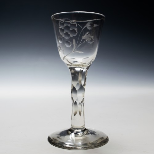 Jacobite Sympathy Facet Cut Wine Glass c1770