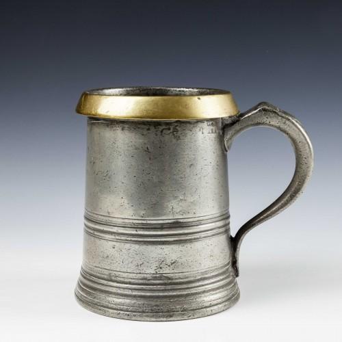 Victorian Brass Rim Pewter Quart Tankard