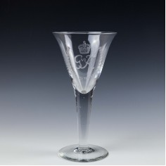 A Large Webb George VI Coronation Glass Goblet - May 12th 1937