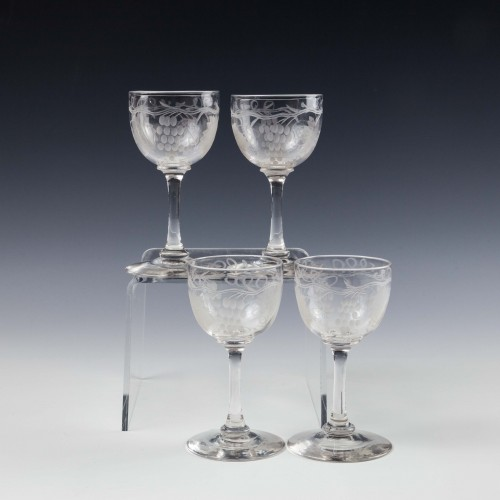 Set Four baluster Knop Gin Glasses c1850