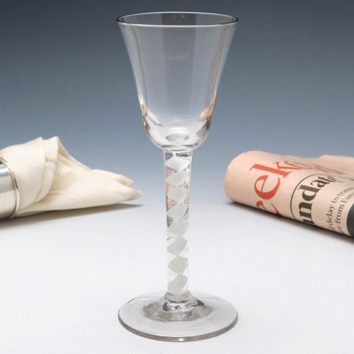 Tall Georgian Single Series Opaque Twist Wine Glass With Fluke Air Threads  c1760