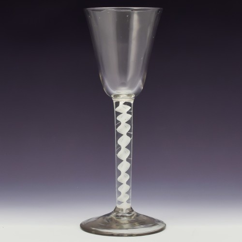 Tall 18th Century Single Series Opaque Twist Wine Glass c1760
