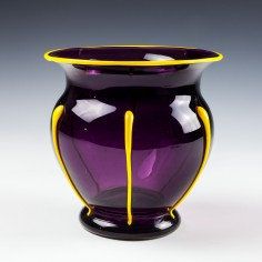 Loetz Amethyst Vase Orange Trails c1925