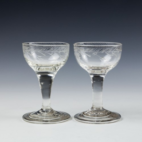 Pair Engraved Regency Gin Glasses With Folded Feet c1820