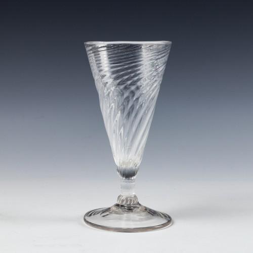 A Somerset Wrythen Ale Glass c1760