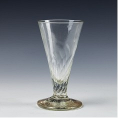 A Wrythened Bowl Ale Glass c1750