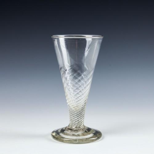 Georgian Half-Wrythened Bowl Ale Glass c1750