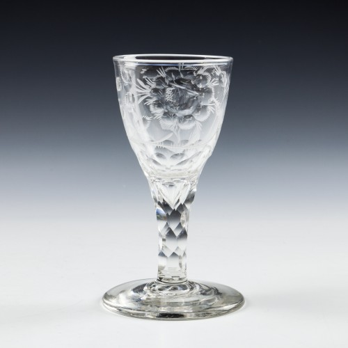 jacobite Sympathy Engraved Facet Cut Stem Gin Glass c1780