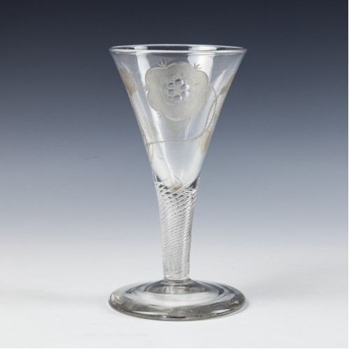 A Two Bud Engraver E Jacobite Wine Glass c1750