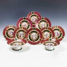 A Vienna Porcelain Dessert Service c1860