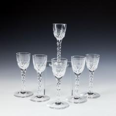 A Set of Six Georgian Style Facet Cut Wine Glasses