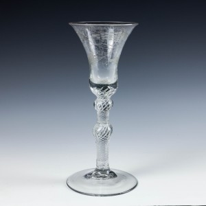 Engraved Double Knopped Air Twist Wine Glass c1770