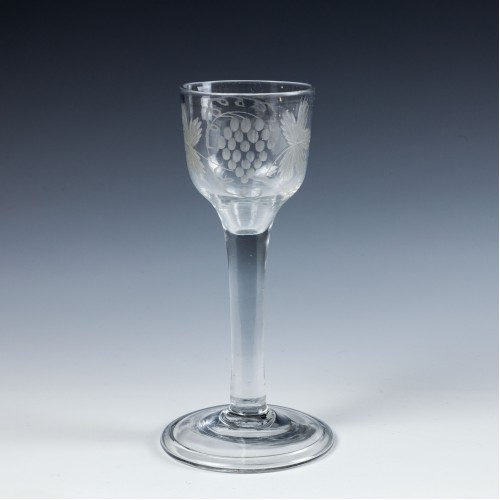 An Engraved Georgian Plain Stemmed Wine Glass c1745