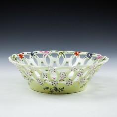 Yellow Ground Worcester Pierced Porcelain Basket c1770
