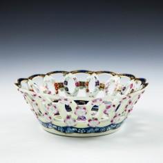 A Worcester Porcelain Pierced Basket c1770