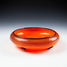 Loetz Michael Powolny Tango Orange Glass Bowl - c1915