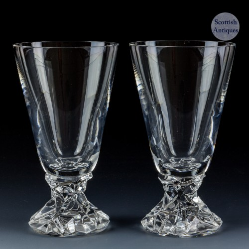 A Pair of Signed Tiffany & Co Rock Crystal Cut Water Goblets