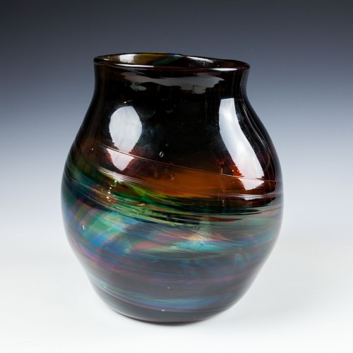 A Hartley Wood Rainbow Streaky Vase - c1930