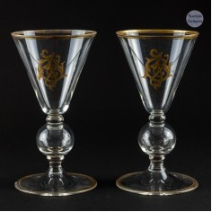 Pair Bubble Knopped Gilded Wine Glasses c1920