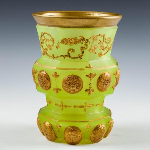 A Riedel Biedermeier Uranium Glass Beaker c1850