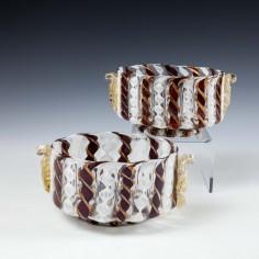 A Pair of Antique Salviati Latticino Face Bowls c1910