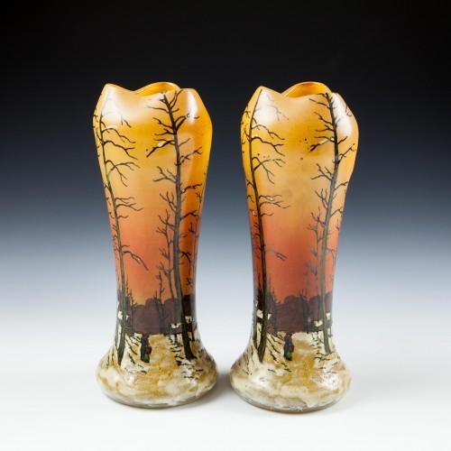 A Pair Legras Winter Scene Enamelled Landscape Vases c1920