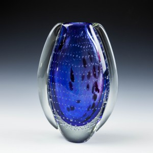 Blue Murano Controlled Bubble Vase with Applied Side Stripes