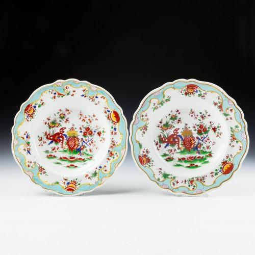 Pair Jabberwocky Pattern Chamberlains Worcester Plates c1825