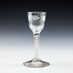 Engraved Georgian Opaque Twist Wine Glass c1760