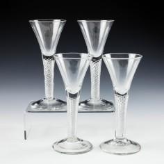 A Fine Set of Four Georgian Multi Series Air Twist Wine Glasses c1750