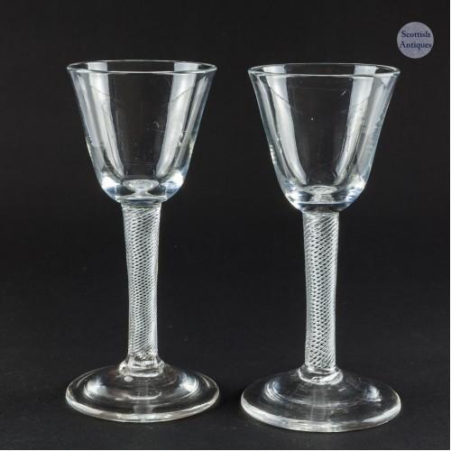 A Pair Multi Series Air Twist Georgian Wine Glasses c1750