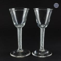 A Pair of  Multi Series Air Twist Georgian Wine Glasses c1750