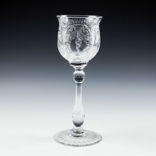 Tall Thomas Webb Rock Crystal Cut Wine Glass c1910