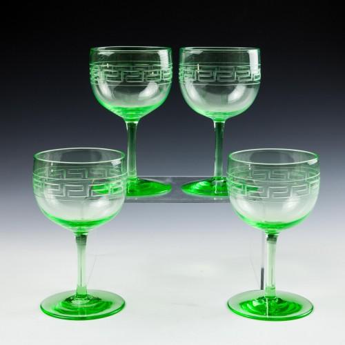 Set of Four Uranium Wine Glasses c1900
