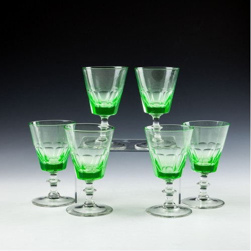 Set of Six Victorian Uranium Wine Glasses c1900