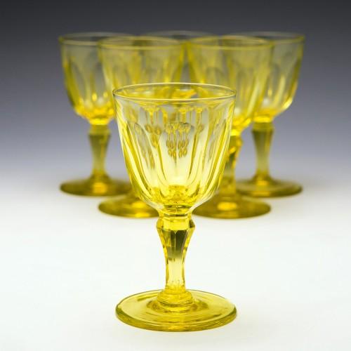 Six Victorian Uranium Yellow Wine Glasses c1850