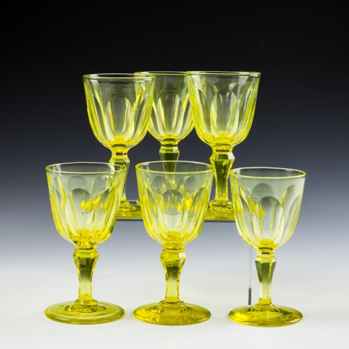 Six Victorian Uranium Yellow Wine Glasses c1850