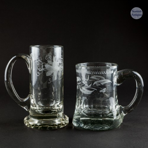 Two Victorian Engraved Glass Tankards