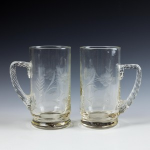 A Pair Engraved Glass Tankards  c1890