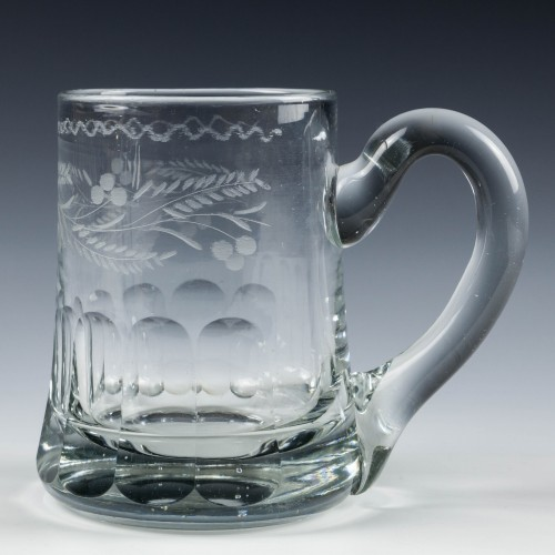 Engraved Victorian Half Pint Glass Tankard c1860