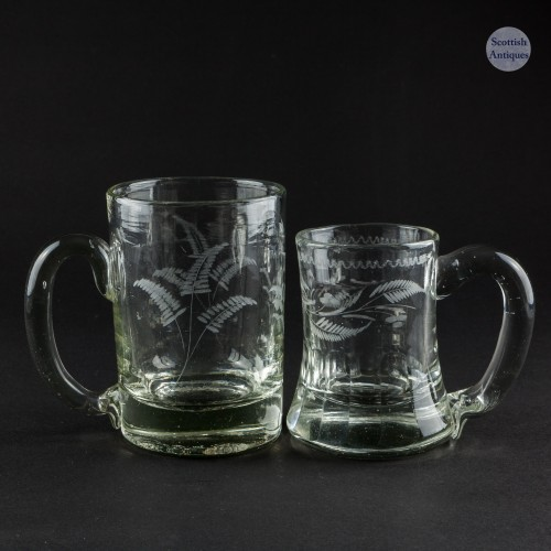 Engraved Victorian Half Pint and Quarter Pint Glass Tankards c1870
