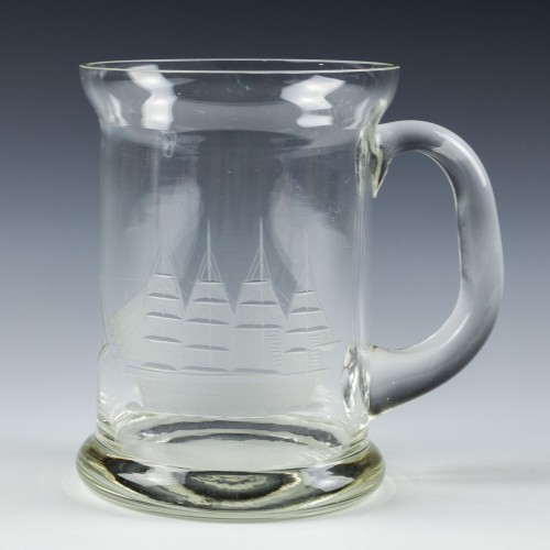Glass Tankard With Engraved Four Master Barque c1935