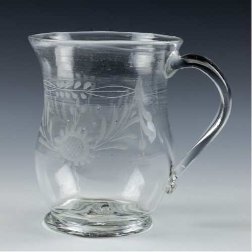 18th  Century Engraved Glass Tankard