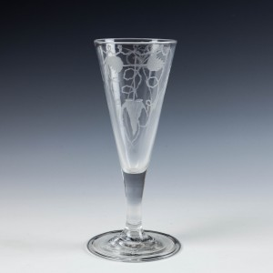 Tall Engraved Georgian Ale Glass with Folded Foot c1745