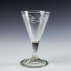 Engraved Georgian Gin Glass c1760