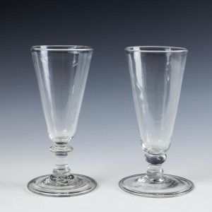 Two Georgian Ale Glasses With Folded Feet c1810